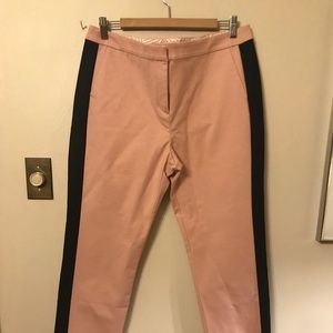 Boden cigarette pants with black piping at sides.